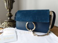 Chloe Faye Small Shoulder Bag in Majolica Blue Smooth Calf and Suede