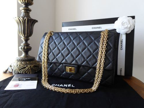 Chanel 226 Reissue Mademoiselle Flap in Distressed Black Calfskin with Gold