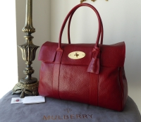 Mulberry Classic Bayswater in Poppy Red Natural Leather with Felt Liner & Pillo - SOLD