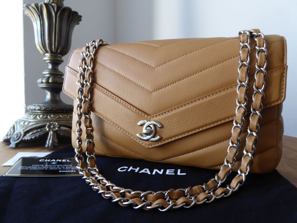 4862ff31a6fb62 Chanel Chevron Quilted Flap Bag In El Grained Calfskin With Shiny