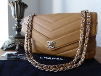 Chanel Chevron Quilted Flap Bag in Camel Grained Calfskin with Shiny Silver Hardware - SOLD