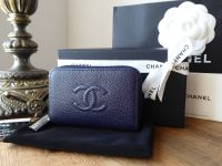 Chanel Small Zip Around Card Wallet in Marine Blue Caviar with Silver Hardware - SOLD