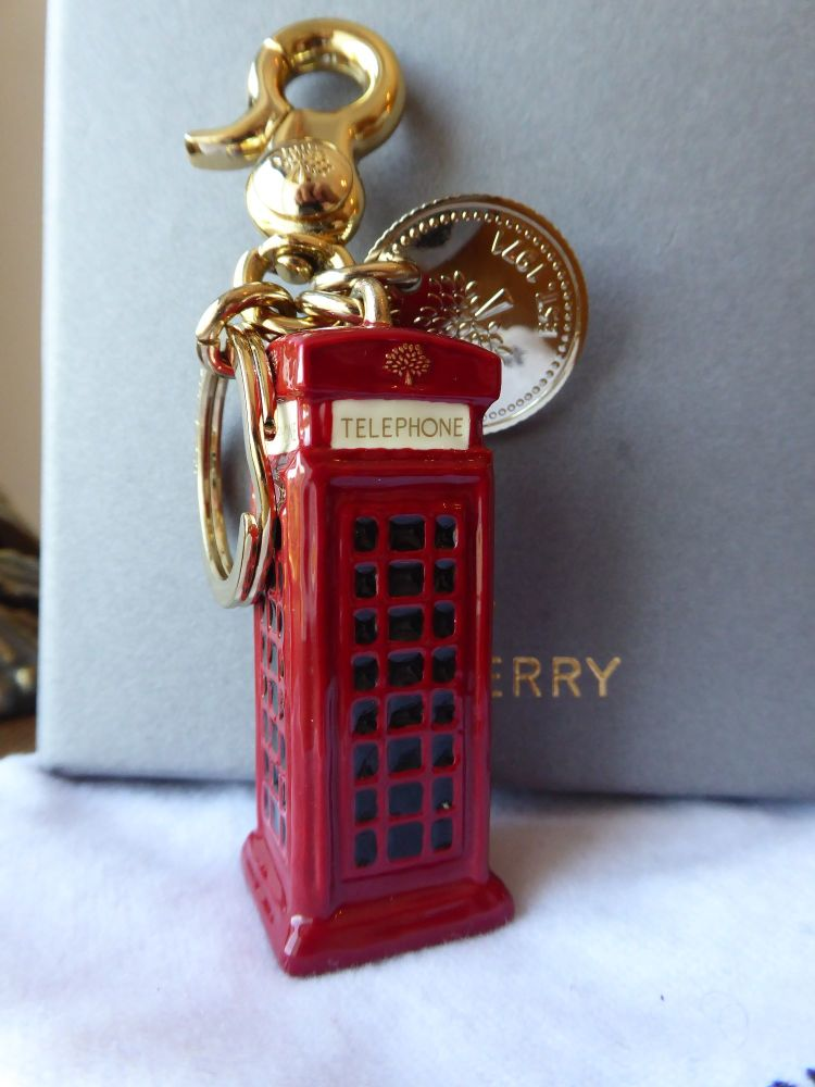 Mulberry Telephone Box Keyring Bag Charm in Red Enamel with Gold Hardware