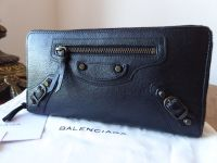Balenciaga Classic Zip Around Continental Purse in Black Lambskin