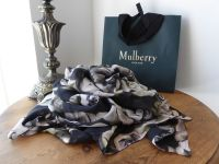 Mulberry Rumpled Roses Maxi Wrap in Winter White Chiffon Silk - SOLD