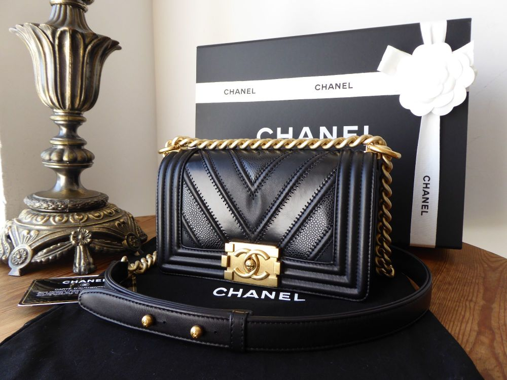 Chanel Small Boy Bag in Black Chevron Mix with Antiqued Gold Hardware