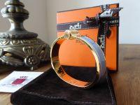 Hermès Hinged Bracelet Charniere Narrow in Blue Lupin Enamel and Gold (GM Medium)