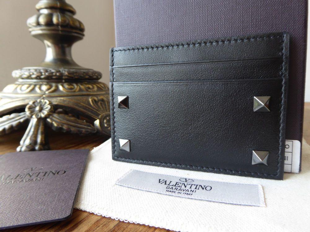 Valentino Rockstud Card Holder in Black Vitello Calfskin - New