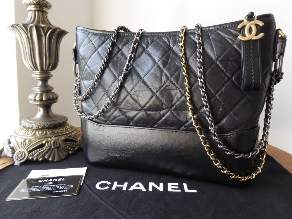 0c221cf9691af6 Chanel Gabrielle Hobo (Medium) in Black Aged Calfskin - SOLD