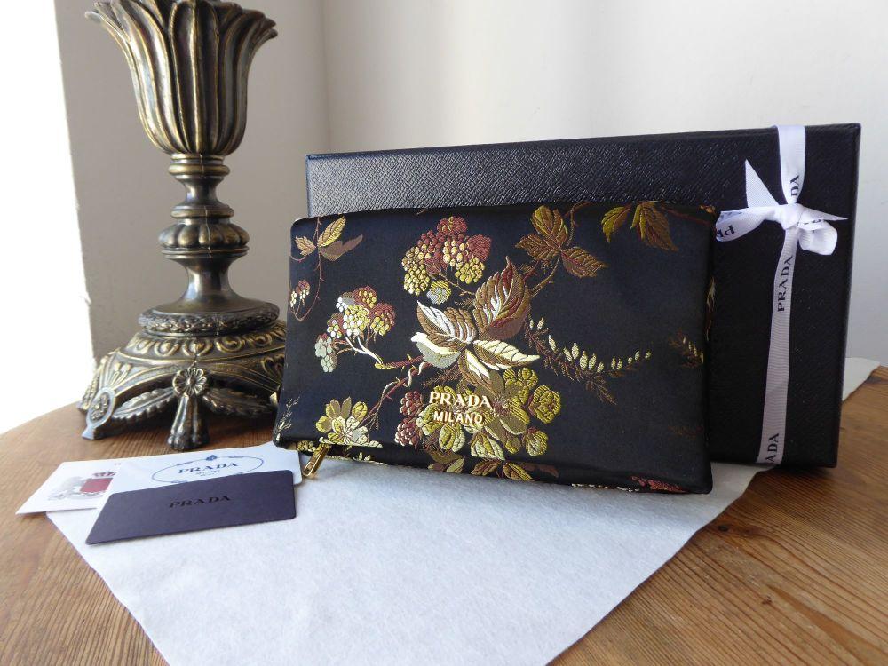 Prada Soft Envelope Fold Over Clutch in Embroidered Silk