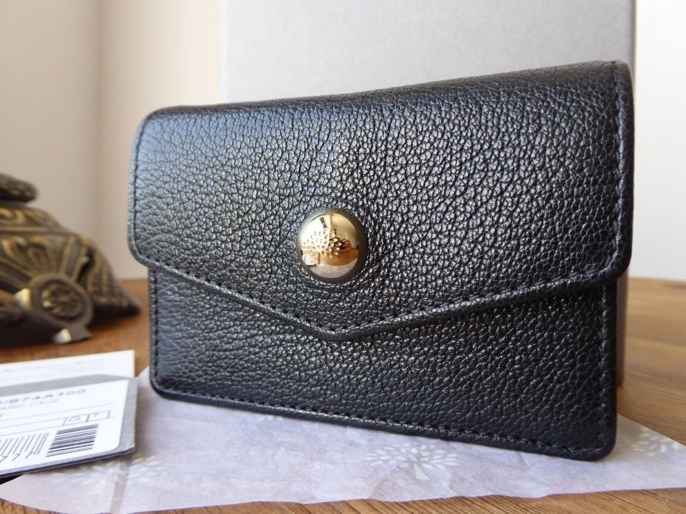 Mulberry Dome Rivet Card Case in Black Glossy Goat with Shiny Gold Hardware