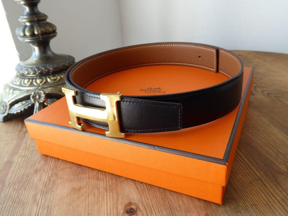 Hermès Belt Kit 32mm in Reversible Black & Gold with Gold H Constance Buckl