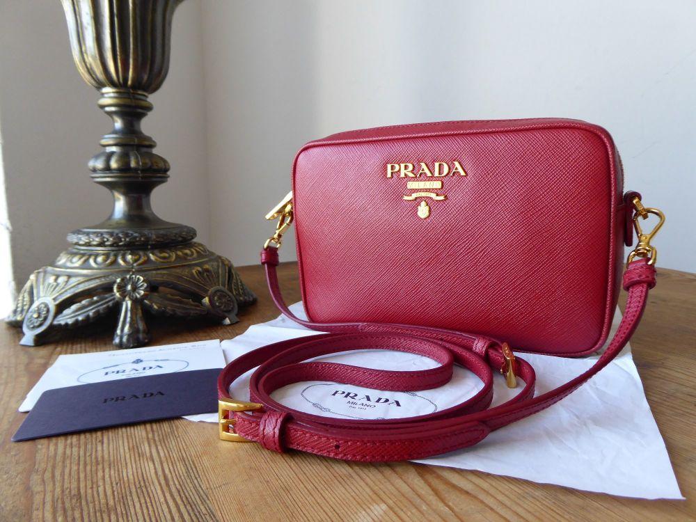 Prada Camera Bag in Fuoco Red Saffiano Leather