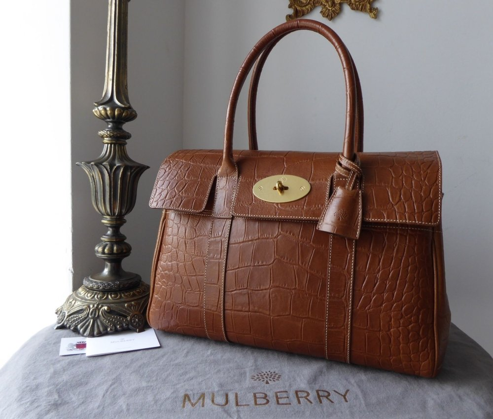 Mulberry Classic Heritage Bayswater in Oak Croc Printed Leather