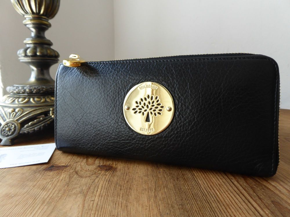 Mulberry Daria Zip Around Continental Purse in Black Soft Spongy Leather