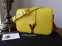 Saint Laurent Small Cabas Chyc Flap Satchel in Yellow Calfskin Leather - SOLD