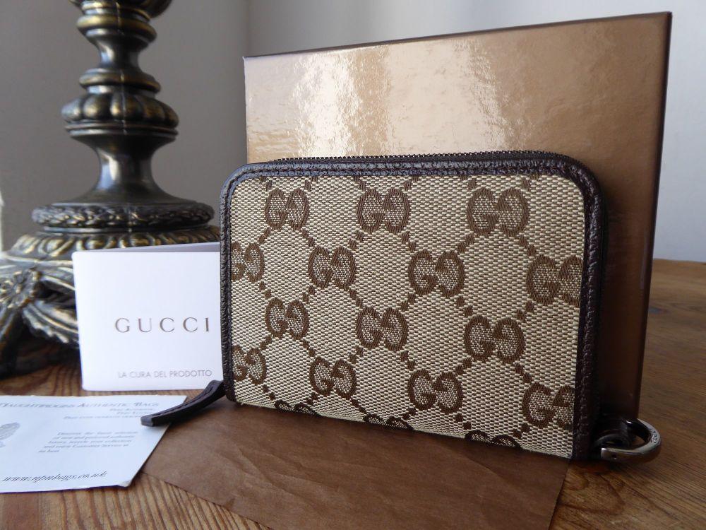 Gucci Small Zip Around Card Coin Purse in Ebony Beige GG Monogram