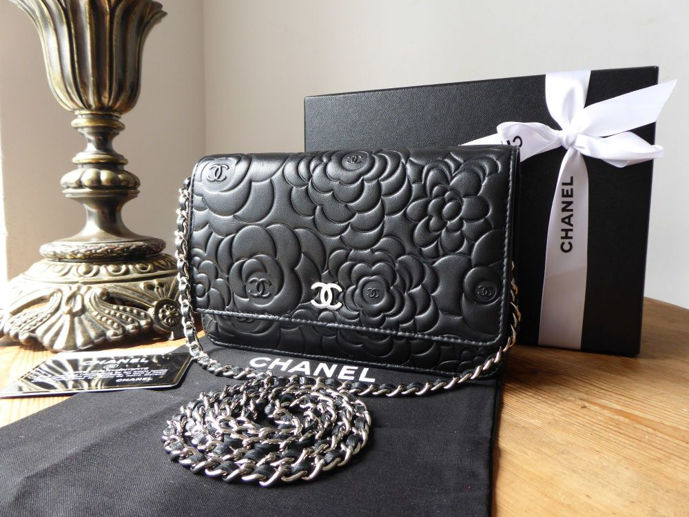 Chanel Camellia Wallet on Chain in Black Lambskin with Silver Hardware
