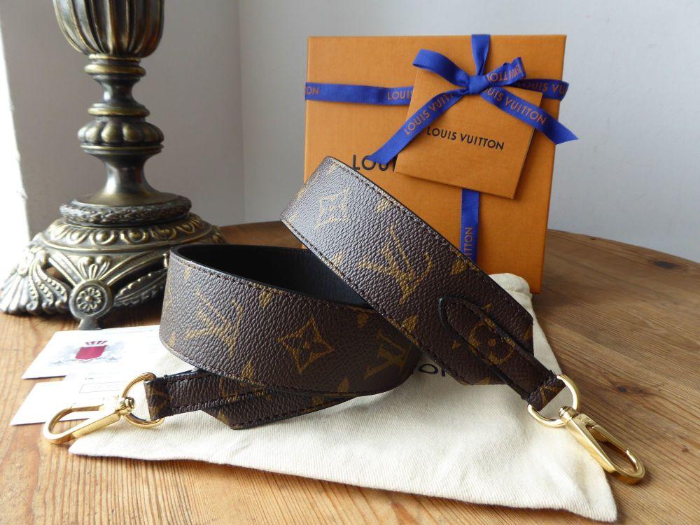 Louis Vuitton Bandouliere Monogram and Black Leather Shoulder Strap - As Ne