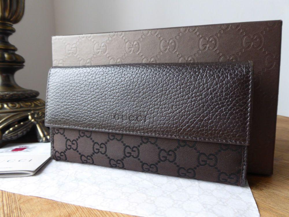 Gucci Medium Continental Wallet in Monogram Ebene