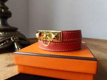 Hermès Rivale Double Tour Leather Wrap Bracelet in Sanguine Swift Calfskin with Gold Hardware RRP £435