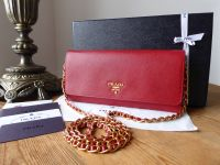 Prada Wallet on Chain Shoulder Clutch in Fuoco Saffiano