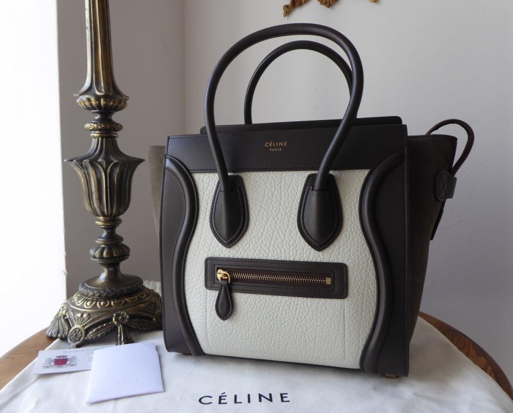 Céline Micro Luggage in TriColor Baby Grained Calfskin & Khaki Nubuck Suede
