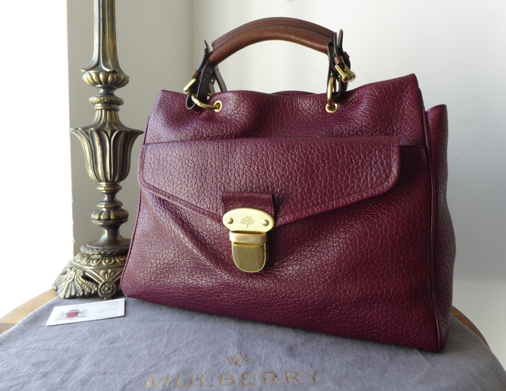 Mulberry Polly Push Lock Tote in Conker Shiny Grain Leather