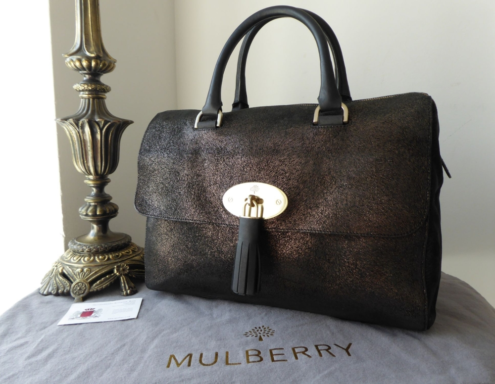 Mulberry Large Del Rey Boston Bag in Metallic Calf Fur Print Mix Leather