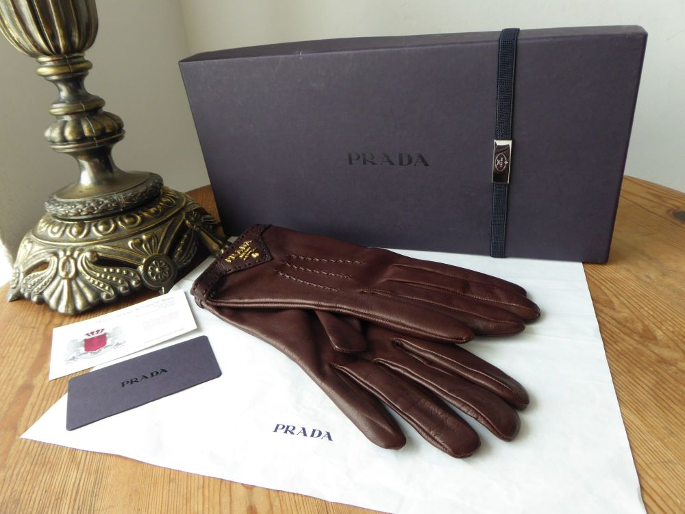 Prada Ladies Gloves in Cacao Brown Lambskin with Silk Lining New