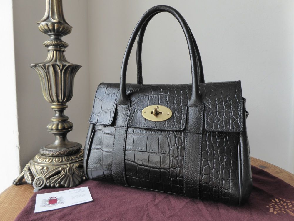 Mulberry Vintage Ledbury Small Bayswater in Black Printed Leather