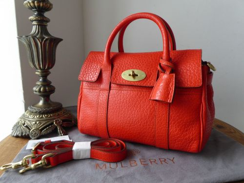 Mulberry Classic Small Bayswater Satchel in Flame Shiny Grain Leather - New