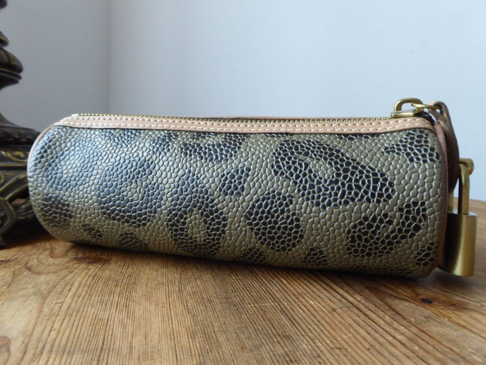 Mulberry Make Up  Pencil Case Zip Tube Pouch in in Leopard Print Bird's Nes