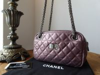 Chanel Small Reissue Camera Bag in Metallic Rose Fonce Distressed Calfskin with Shiny Silver Bijoux Chain