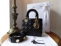 Dior My Lady Dior in Black Lambskin Cannage with Pale Gold Hardware