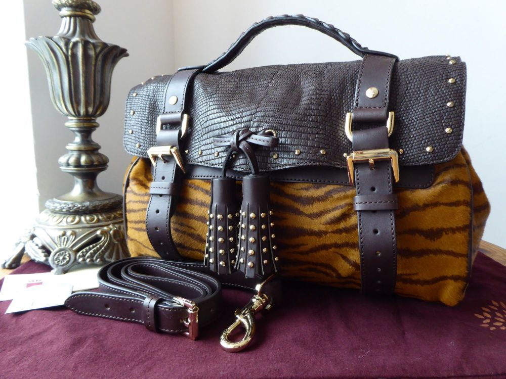 Mulberry Tassle Alexa in Tiger Mixed Haircalf with Lizard Printed Leather