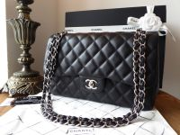 Chanel Timeless Classic 2.55 Double Jumbo Flap in Black Lambskin with Silver Hardware