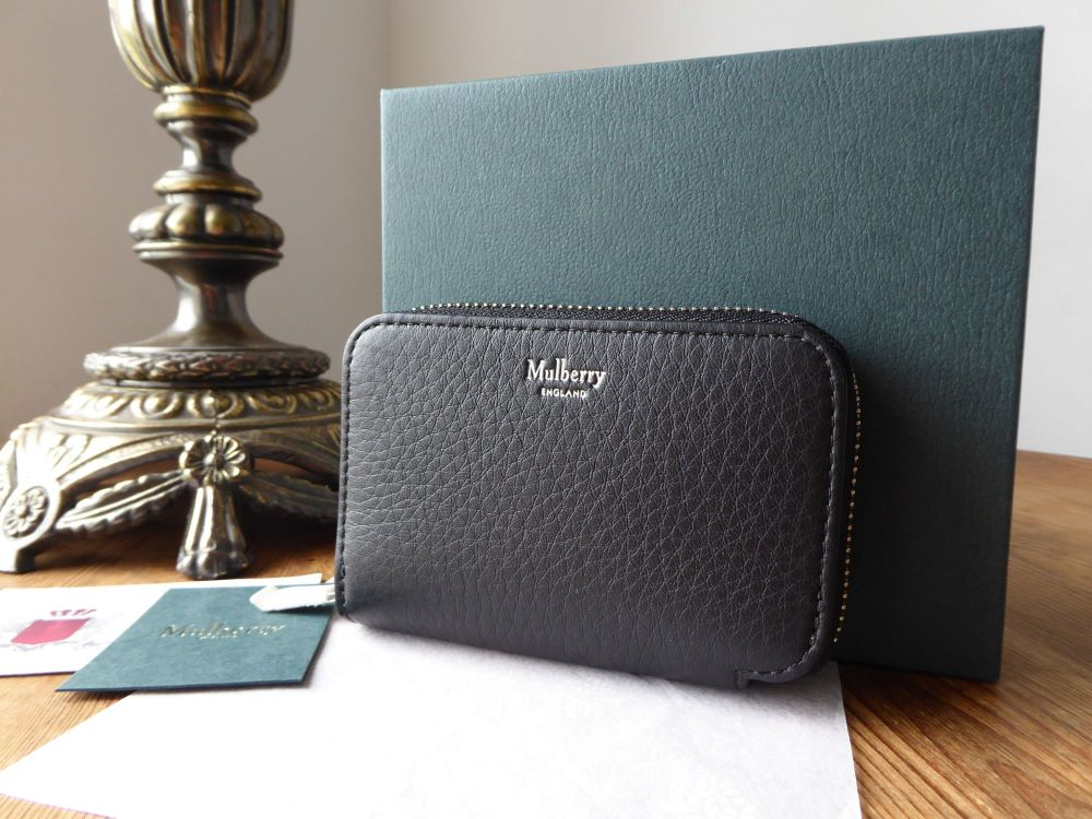 Mulberry Small Zip Around Multicards Purse Wallet in Black Calfskin with Si