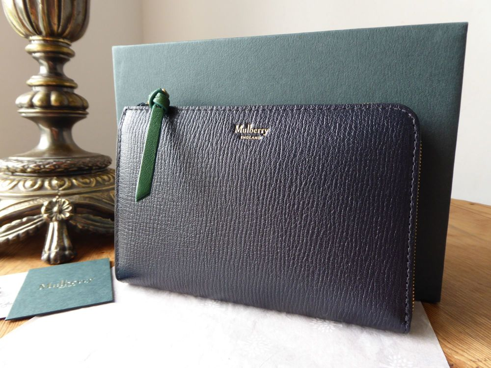 Mulberry Medium Part Around Zip Wallet in Navy and Emerald Printed Goat - N