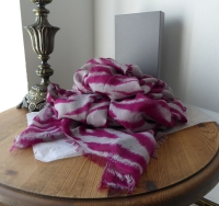 Mulberry Zebra Print Wrap in Raspberry & Grey 50% Cashmere / 50% Wool -SOLD