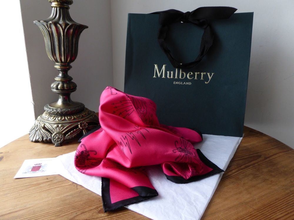 Mulberry Bee Print Silk Square Twill Scarf in Ruby Magenta from the Georgia