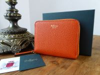 Mulberry Small Zip Around Compact Purse in Bright Orange Small Classic Grain  - SOLD