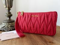 Miu Miu Zip Pouch Wristlet Faille Matelasse Rubino Red - As New*