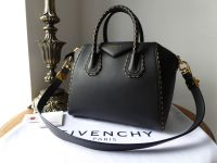 Givenchy Antigona Limited Edition Small Shoulder Bag in Black Calfskin with Gold Inlaid Chain Detail - New