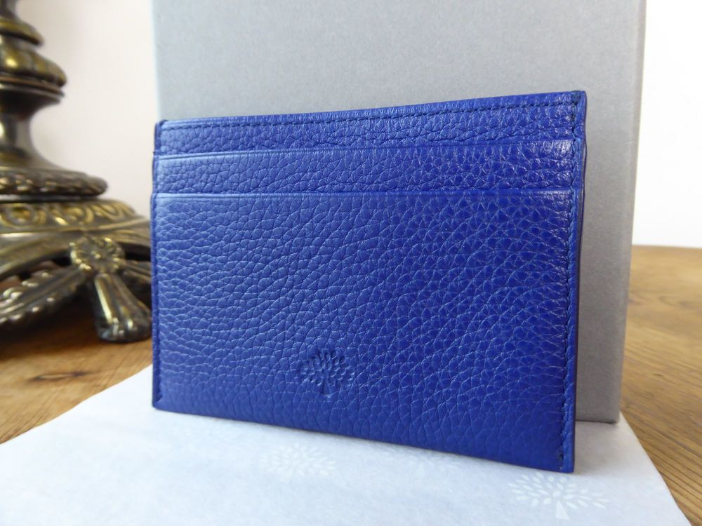 Mulberry Card Slip Holder in Neon Blue Natural Grain Leather - New*