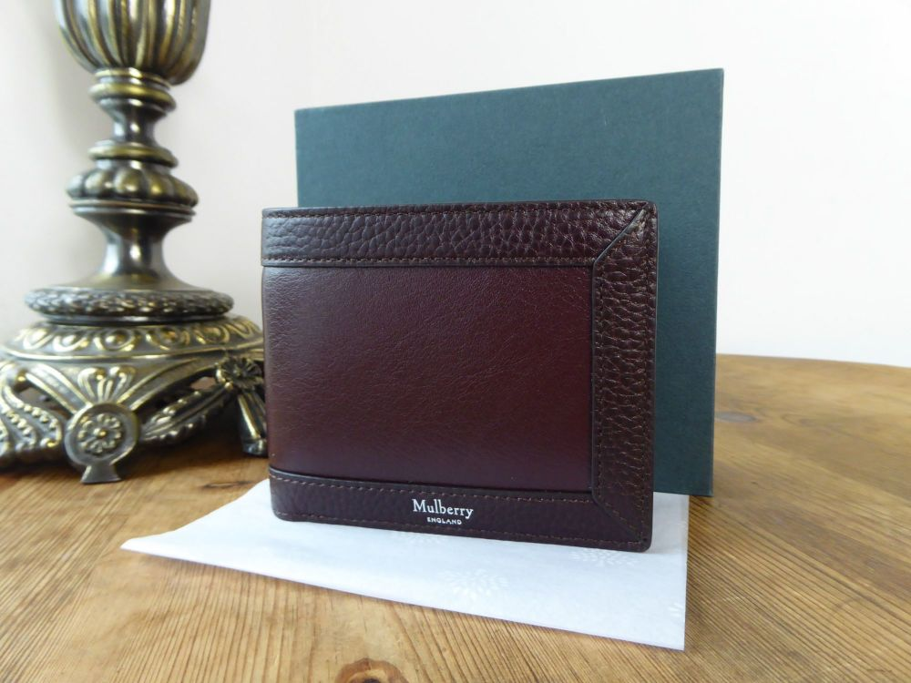 Mulberry 8 Card Wallet in Oxblood Smooth Calf and Natural Grain Leather New