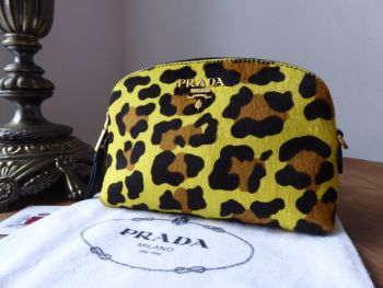 Prada Cavallino Cosmetic Zip Pouch in Leopard Printed Calf Hair - New