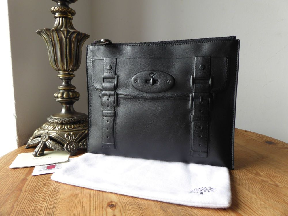 Mulberry Maisie Slim Large Clutch Zip Pouch in Black Polished Leather