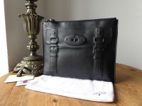 Mulberry Maisie Slim Large Clutch Zip Pouch in Black Polished Calf Leather - SOLD