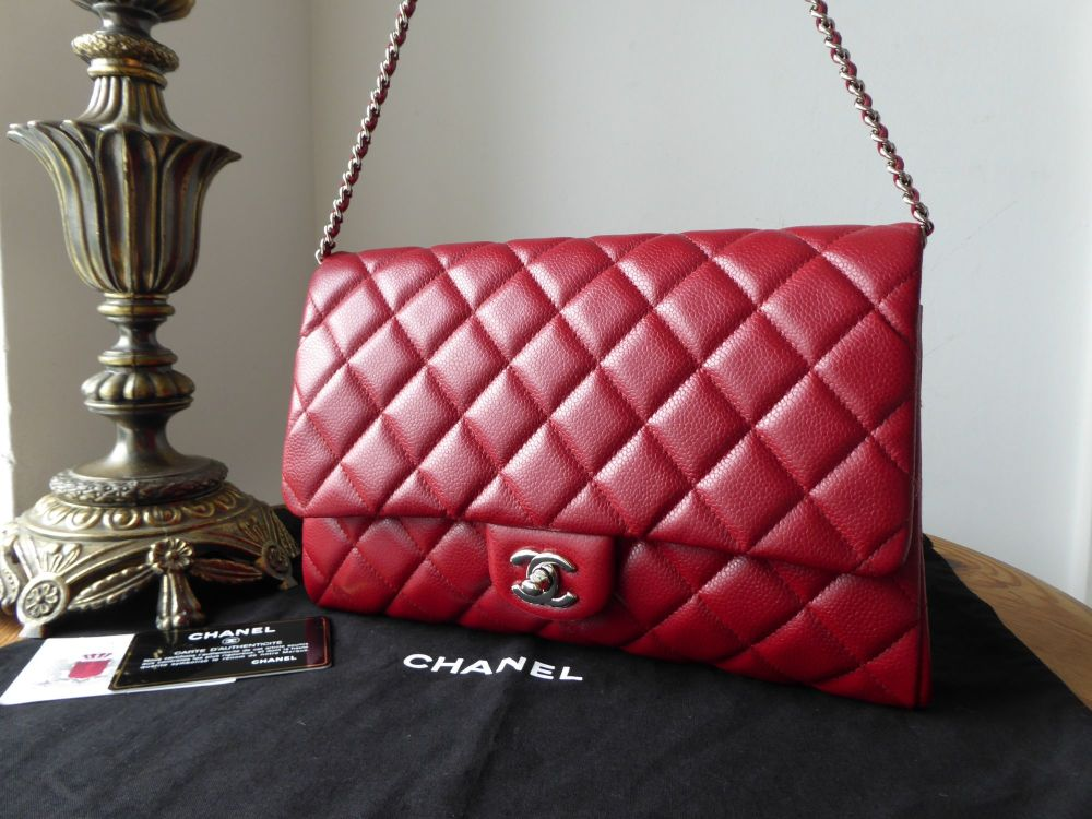 5f82612b113e Chanel Classic Clutch With Chain Flap Bag in True Red Caviar with Silver Ha